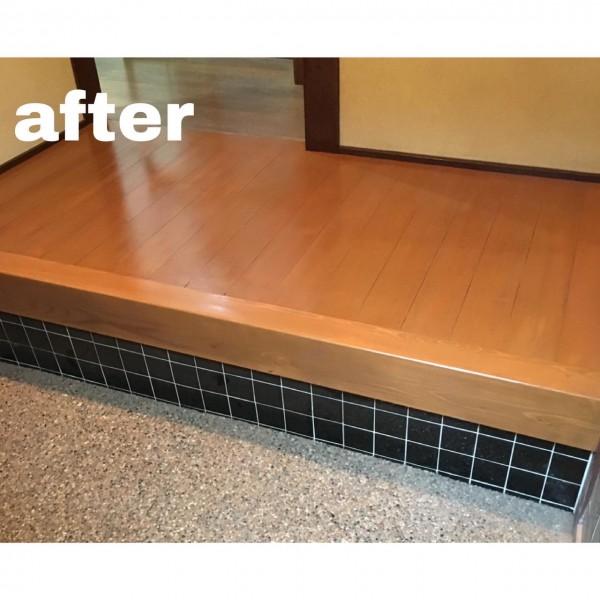 玄関床板塗装完成✨